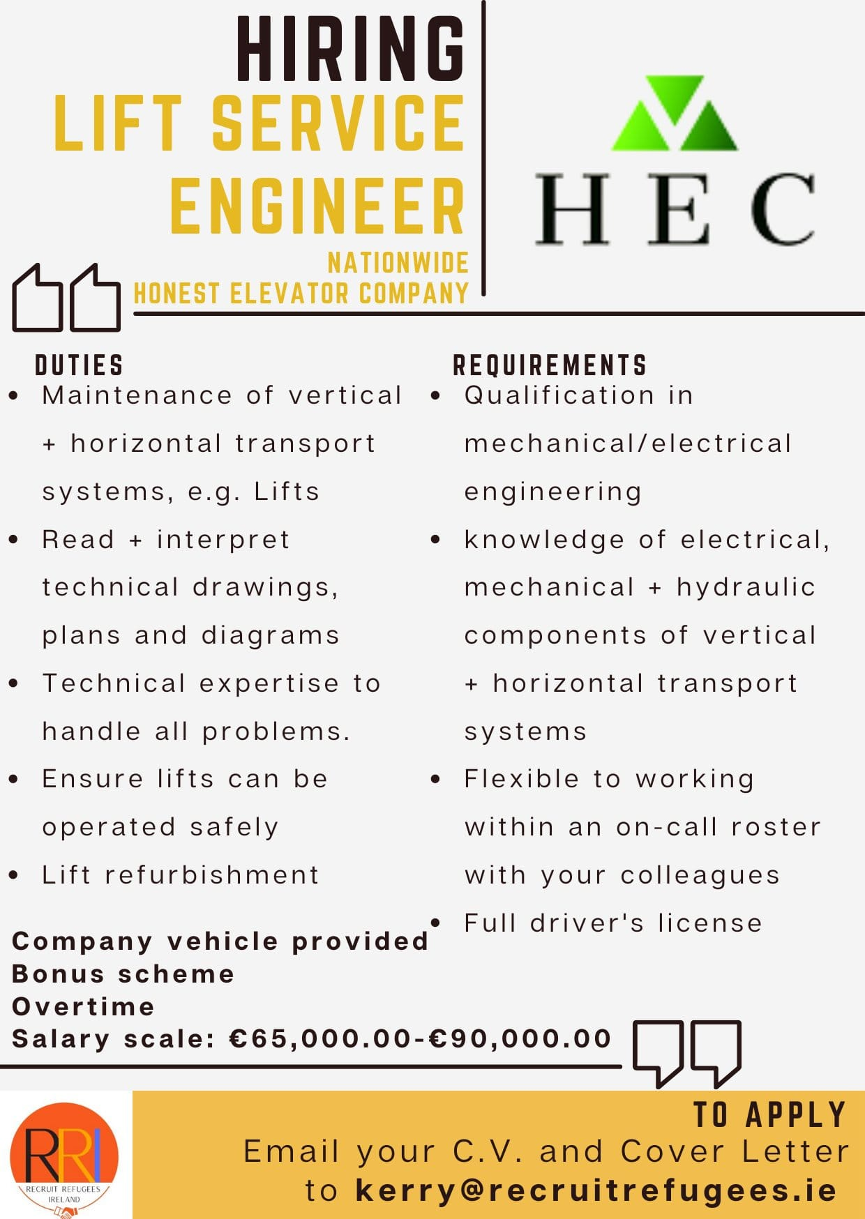 ad for lift engineer